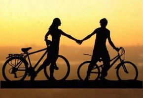 Holding Hands Couple with Bicycles Papercut by DreamPapercut