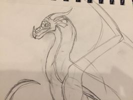 Unfinished Rainwing sketch  by Corinny-cat