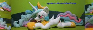 Life-size (laying down) Princess Celestia plush by agatrix