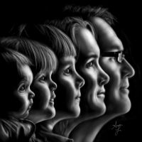 Family portrait drawn on Galaxy Note 10.1 by laziee2ann