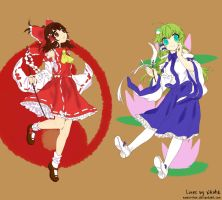 Reimu and Sanae-chan by MioAis