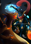 Charizard VERSUS Greninja by witch-girl-pilar