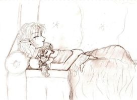 +Isamu resting with Drake+ by isamuchan