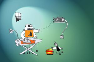 Scratchyman does the ironing by melemel