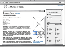 Character Closet, Character View - UX Wireframe by ElizaWyatt