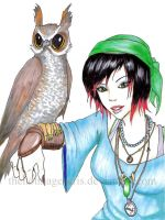 Pirate witch and Owl familiar by thehotmageaeris