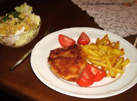 Cordon bleu with french fries by Culu-Bluebeaver