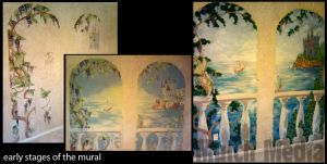 Making of photos: Mural - dragon and castle panels by MulchMedia