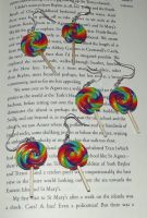 Rainbow lollipop earrings by MeticulousBlue