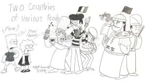 Two Countries of Various Foods by komi114