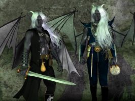 Dragon-Descended Drow :: Honglath and Veldrin by DrowElfMorwen
