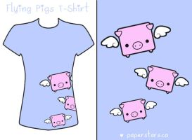 Flying Piggy T-Shirt by littlepaperforest