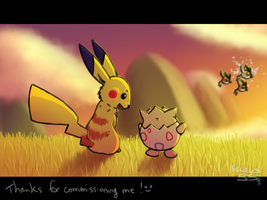 Pikachu and Togepi seeing a shiny Hoothoot by Arceus55