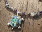 Silver and Shell Turtle Necklace Closeup 3 by Windthin