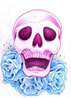 Skull with roses by jerrrroen
