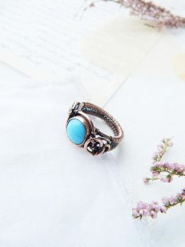 Blue cabochon ring by UrsulaJewelry