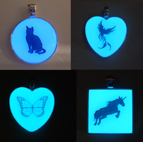 Glow in the Dark Silhouette Pendants - Batch 01 by heatbish