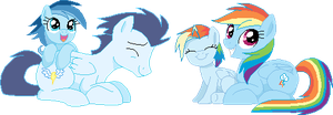 Corrected Pixel Art: Soarin x Rainbow Dash + Child by TheHaribokid