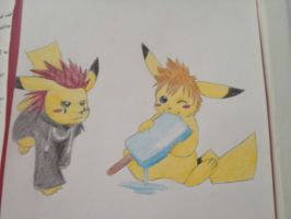 Axel Roxas Tiny Pikachus by Goldfirewolf