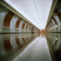 Moscow subway by rain