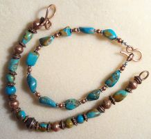 Turquoise and copper bracelets by artefaccio