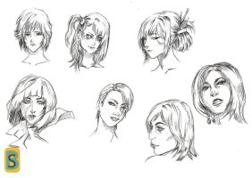 Girls Faces Sketching by bloodsplach