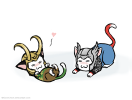Kitty Loki and kitty Thor by GoreChick