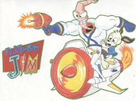 EARTHWORM JIM AND PETER PUPPY by CHICAIRKEN
