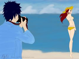 Erza Scarlet Beach Holiday (extended) with gray by afrillia