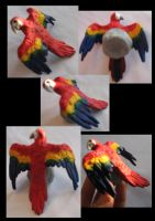 Scarlett Macaw sculpture by Painted-Shadow
