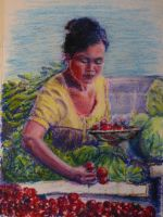 The Cherry Tomato Lady in Oil Pastels by jugglejoe