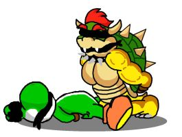 Bowser and Yoshi by Boblame