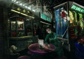 In the mall of Chimaera by Griatch-art