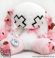 White and Pink Bunny by SplitxMindxPlush