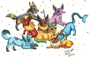 Eevee Family by Evoli-niceli