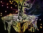 Psychedelic Levitating Tree Island Drifts In Space by Defiant2Death