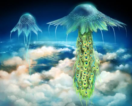 Peacock and Peahen Jellyfish by Emalb