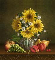 Still life with sunflowers by IgnisFatuusII