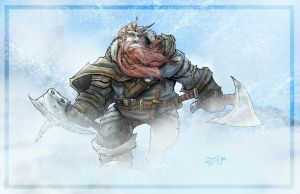 Dwarf in Snow Storm by ZipDraw