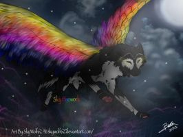 Flying Rainbow Wolf  by Chibi-Cola-SkyWolf62