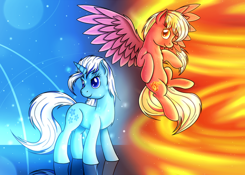Elementals of Water and Fire by AquasElemental