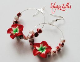 Earrings - red fimo flowers circles by Benia1991