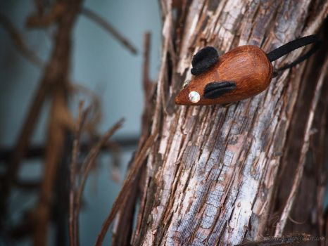 wooden mouse pin in the garden by Nexu4
