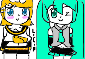 Rin and Miku by Len-CAT-Piko