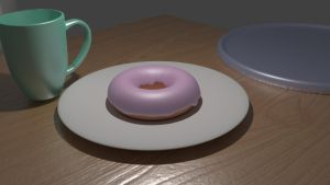 Donut on Table by Corkhead