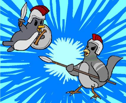 Penguin vs Pigeon by Ahriman-the-Dreamer