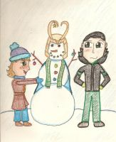 Lucy and Loki Crayon Adventure: Mr. Snowman by AbbyCatWolff