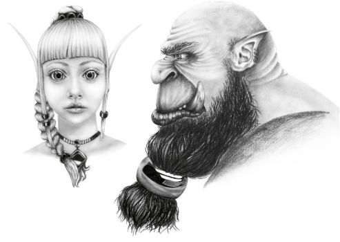 An elf and an orc study by AranasWeb