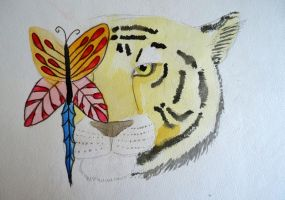 Tiger and the Water- Butterfly by Chequer