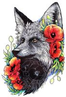 Fox and Flowers by Koolaid-Girl